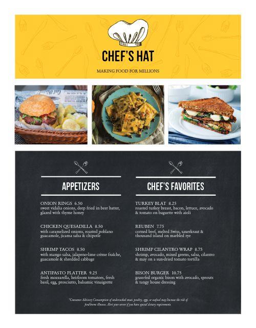 Cafe Chef Specials Menu