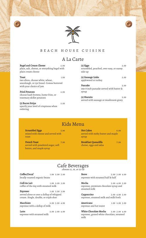 Beach House Breakfast Menu