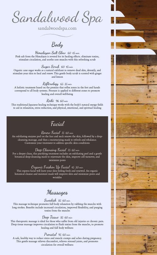 Wooden Spa Menu