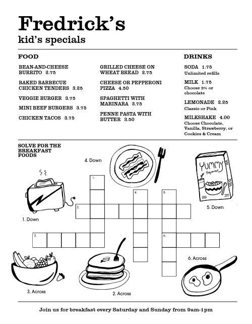 Kids Crossword Puzzle Menu