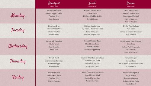 Cafe Dining Hall Digital Menu Board