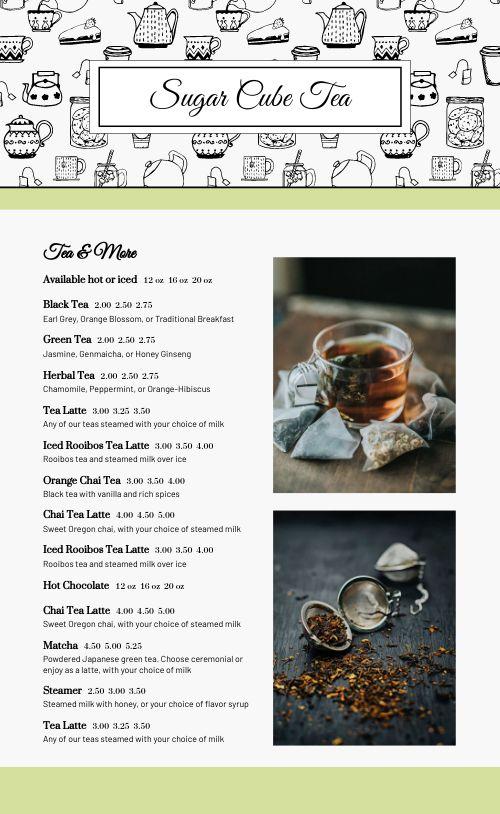 Fun Tea Menu