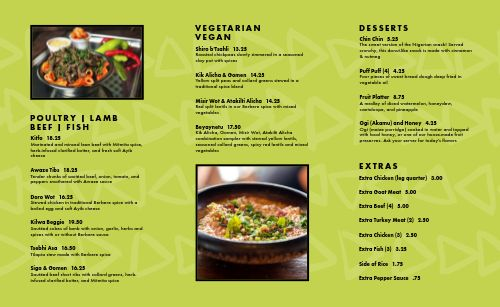 Green African Takeout Menu