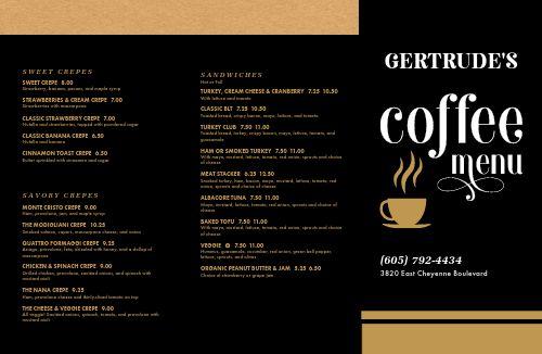 Coffee Folded Menu Example