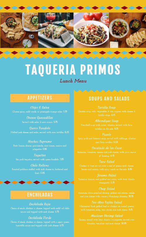 Editable Mexican Menu