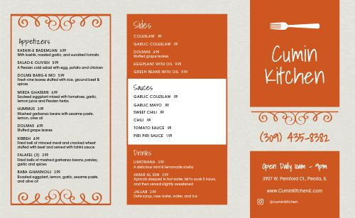 Middle Eastern Takeout Menu Sample