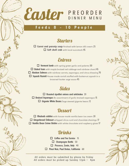 Dinner Preorder Form