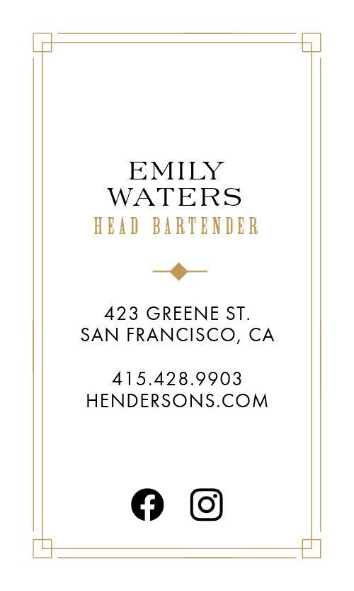 Upscale Bartender Business Card