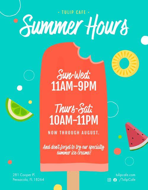 Summer Hours Signage
