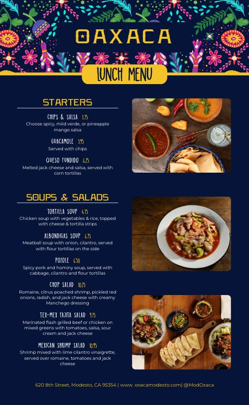 Lunch Mexican Menu