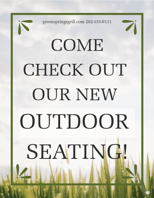 Outdoor Seating Sign