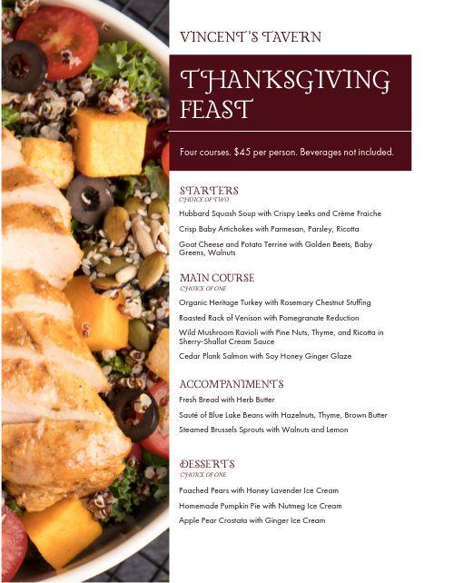 Thanksgiving Tavern Menu
