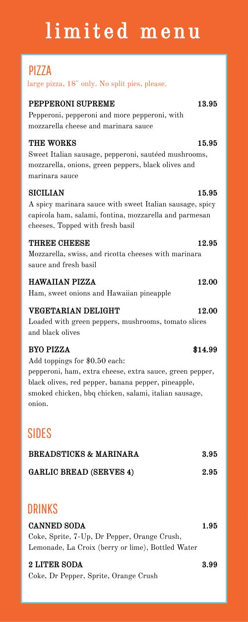 Delivery Only Takeout Menu