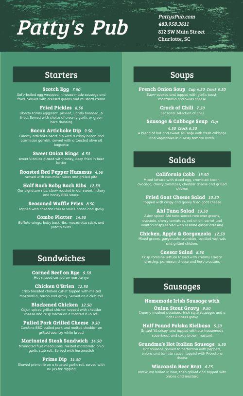 Irish Food Menu