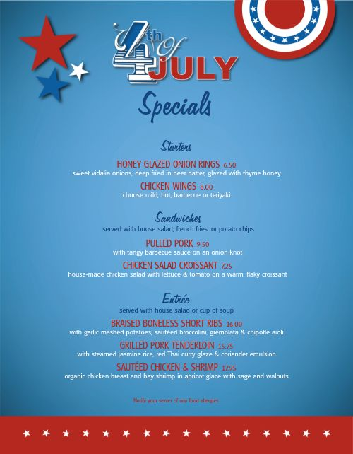 July 4th Celebration Specials Menu