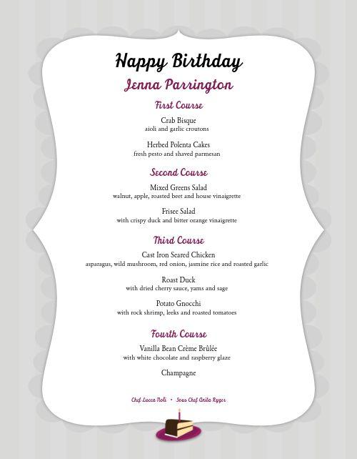 Happy Birthday Menu