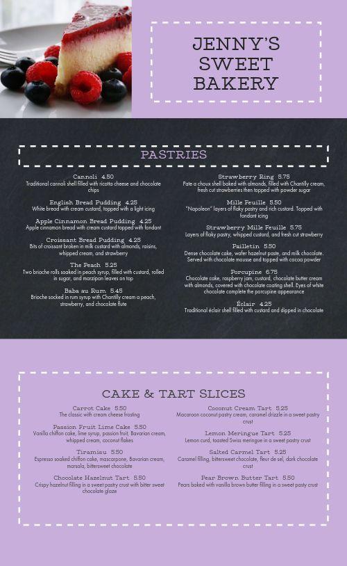 Dotted Cake Bakery Menu