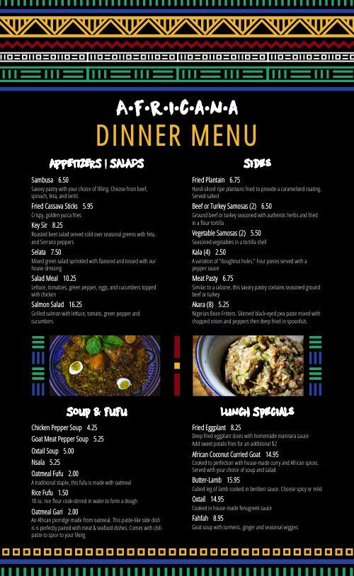African Kitchen Menu