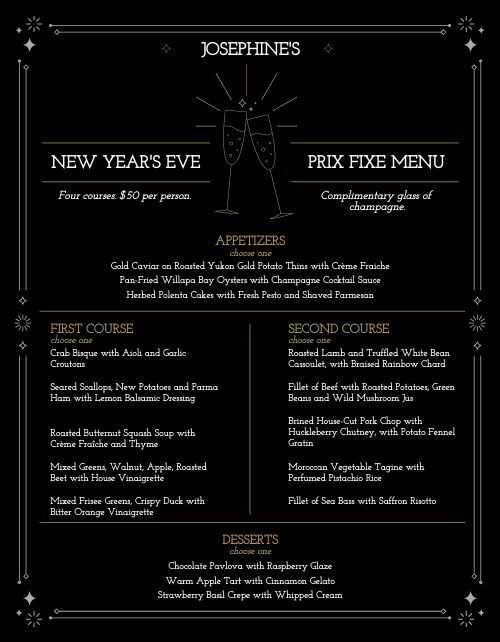 New Years Prix Fixe Menu
