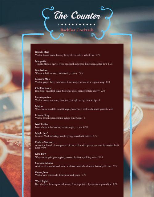 Delicious Cocktails Bar Menu