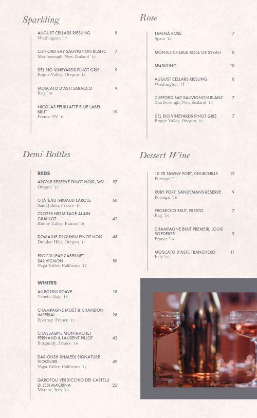 Cocktail Bar Wine List Menu