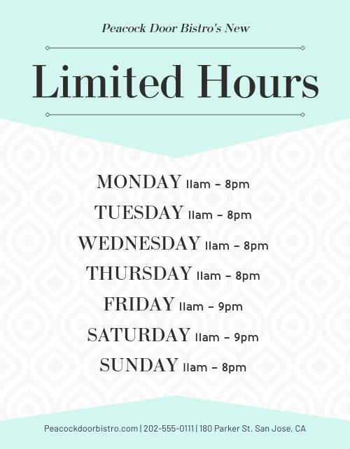 Limited Hours Flyer