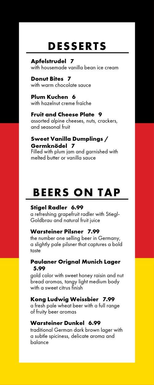 German Food Half Page Menu