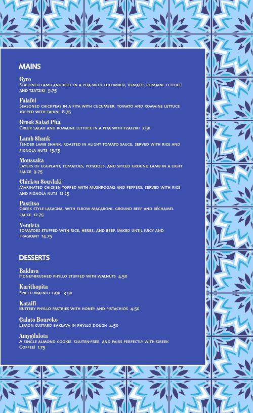 Organic Greek Cafe Menu