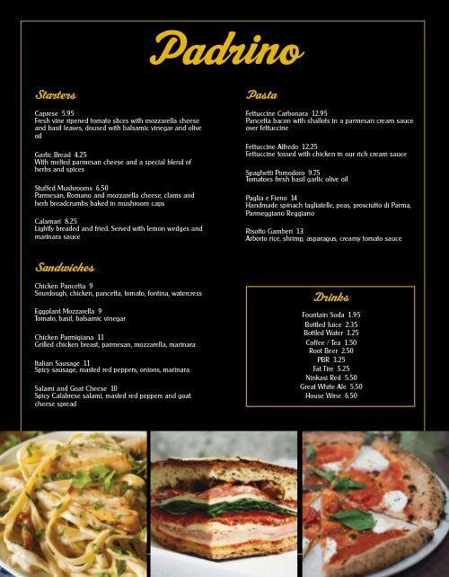 Italian Bar Menu