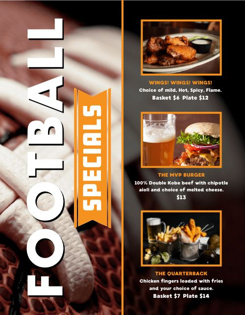 Football Game Specials Flyer
