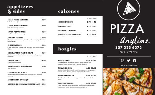 Classic Pizza Takeout Menu