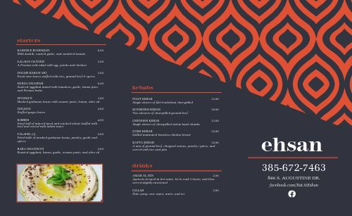 Blue Middle Eastern Takeout Menu