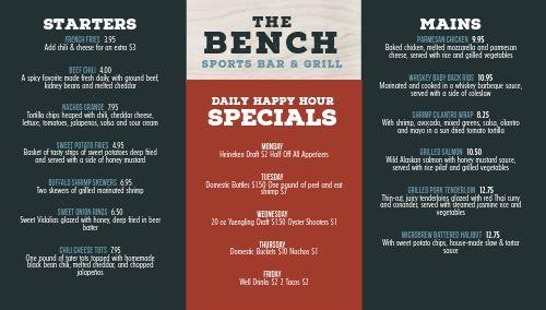Sports Bar Bench Digital Menu Board