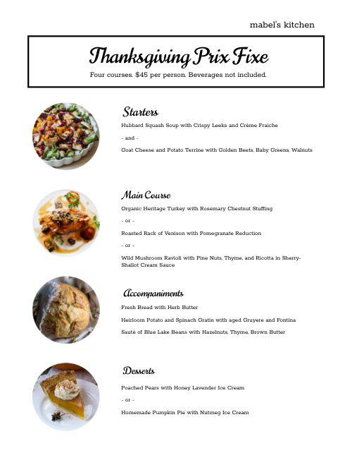 Thanksgiving Basic Menu