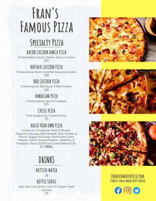 Pizzeria Food Cart Menu