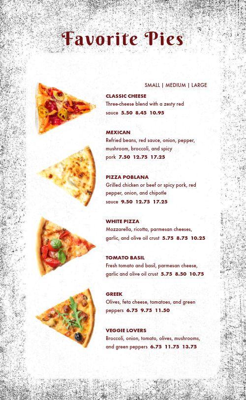 Casual Pizza Menu
