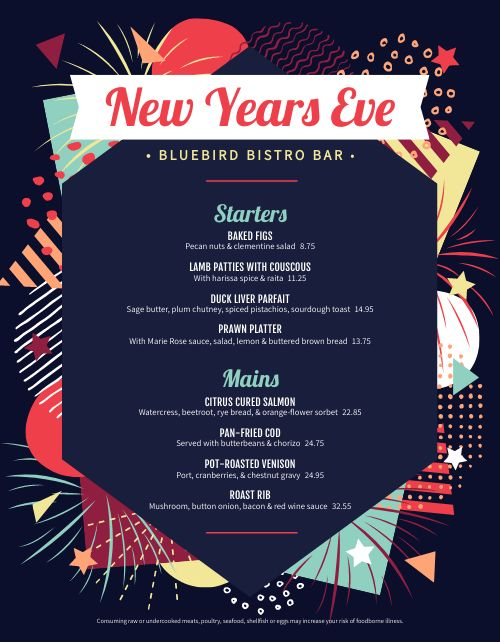 Colorful New Years Eve Menu