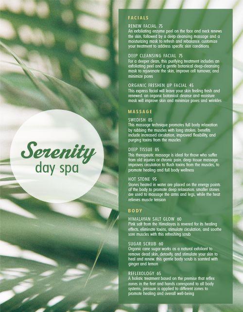 Serenity Spa Menu