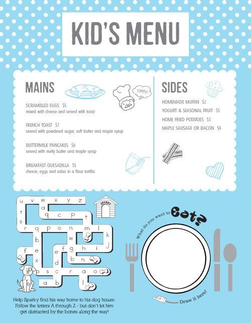 Breakfast Kids Menu