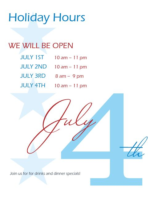 July Fourth Hours Flyer