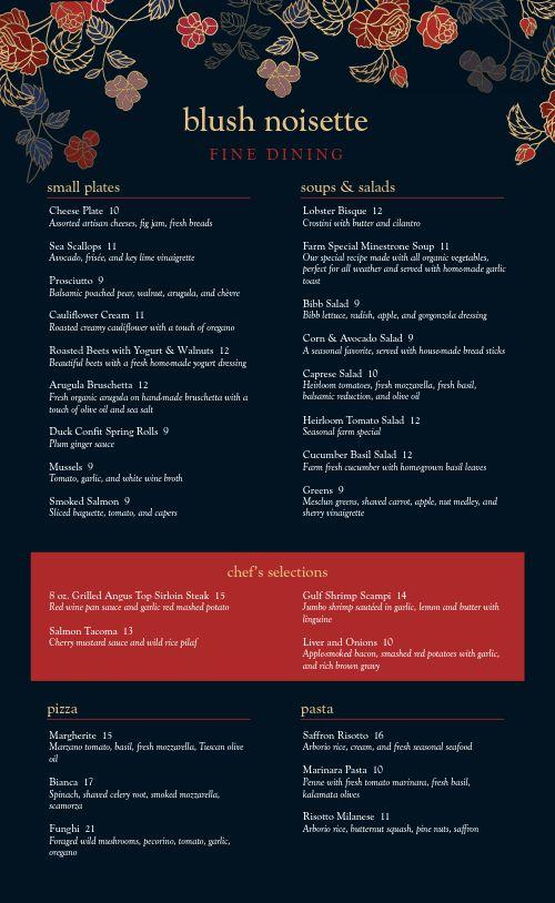 Pacific Fine Dining Menu