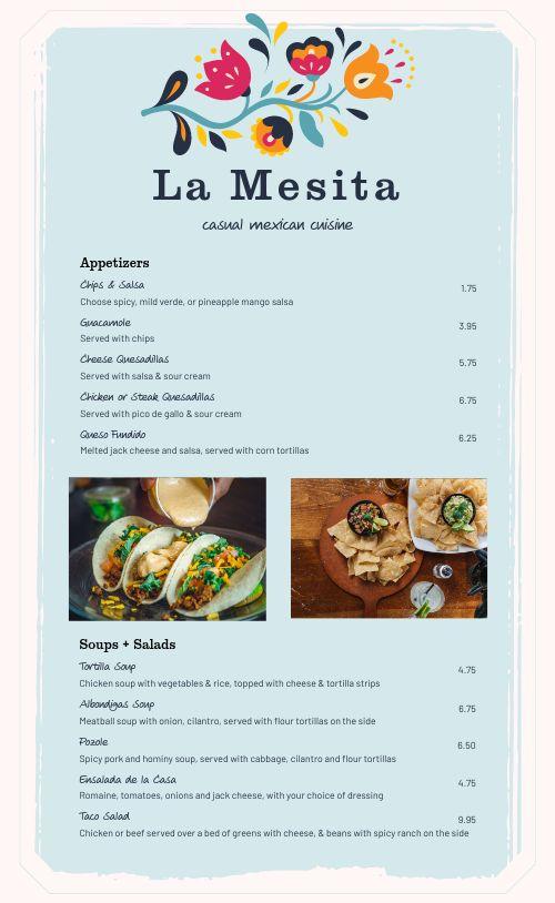 Easy Design Mexican Menu