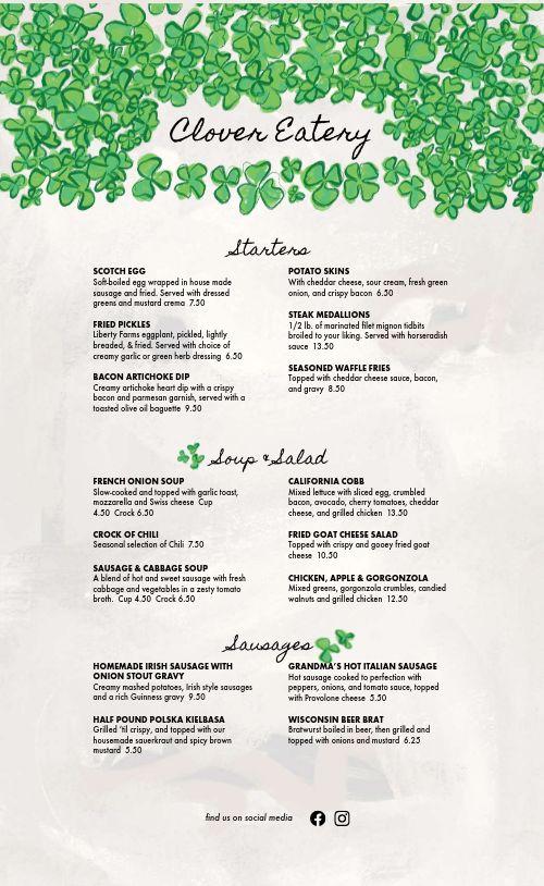 Gourmet Irish Menu