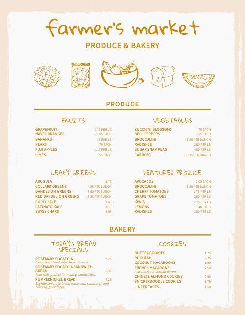 Bakery Farmers Market Menu