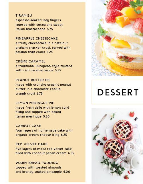 Pie Dessert Specials Menu