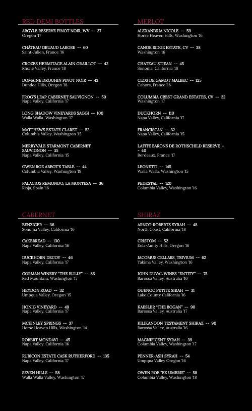 Wine List Dinner Menu