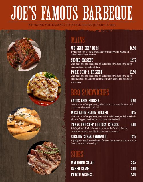 Southern Food Truck Menu Poster