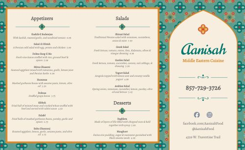 Middle Eastern Eatery Takeout Menu