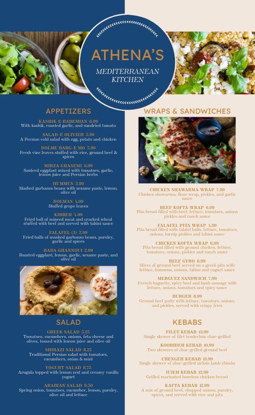 Greek Dining Menu