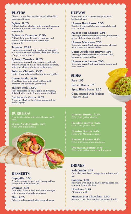 Colorful Tacos Mexican Menu